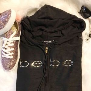 Bebe mesh jacket with rhinestone letters
